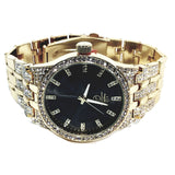 Techno Pave Gold Finish Iced Out Lab Diamond Round Black Face Mens Watch Metal Iced Band Bling 8558