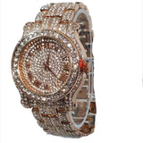 Techno Pave Rose Gold Finish Iced Out Lab Diamond Round Face Mens Watch Metal Iced Band Bling 7341