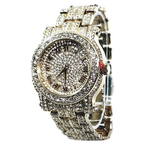 Techno Pave Silver Finish Iced Out Lab Diamond Round Face Mens Watch Metal Iced Band Bling 7341s
