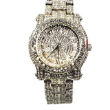 Techno Pave Gold Finish Iced Out Lab Diamond Round Face Mens Watch Metal Iced Band Bling 7341