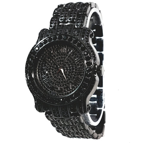 Techno Pave Gun Metal Black Finish Iced Out Lab Diamond Round Face Mens Watch Metal Iced Band Bling 7341
