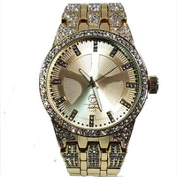 Techno Pave Gold Finish Iced Out Lab Diamond Round Gold Face Mens Watch Metal Iced Band Bling 8558