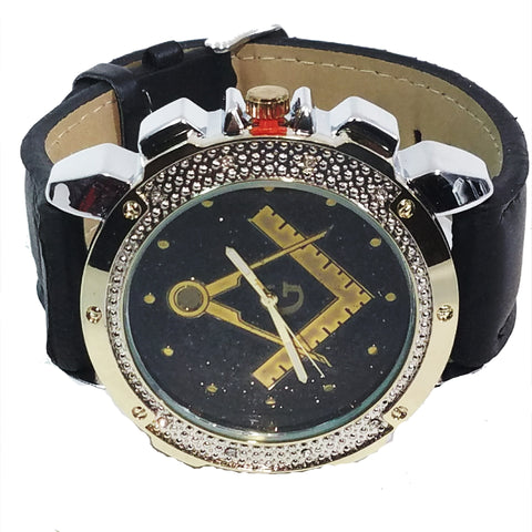 Fremason Masonic Symbol Gold & Silver Finish Mens Watch Round Gun Metal Face Faux Leather Band