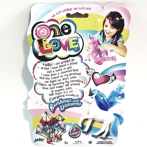 One Love White With Blue Hair Unicorrn Doll Set With Brush