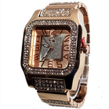 Charles Raymond Rose Gold Finish Iced Lab Diamond Rose Gold Frost Face Mens Watch Black Band Rectangle Case L0132M