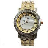 Charles Raymond Gold Finish Iced Lab Diamond White Marble Face Mens Watch Metal Band Rectangle Case L0131M