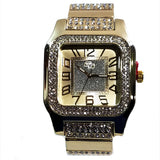 Charles Raymond Gold Finish Iced Lab Diamond Gold Frost Face Mens Watch Black Band Rectangle Case L0132M