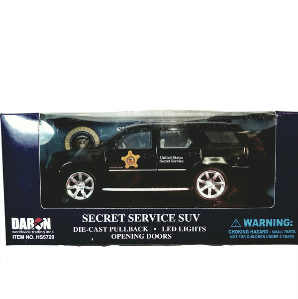 "Daron Black Secret Service SUV Presidential Seal 6"" Diecast with Lights"