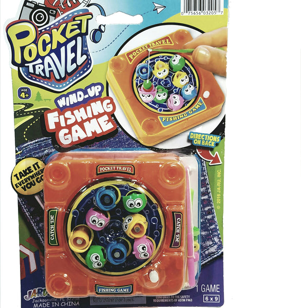 Pocket Travel Wind-Up Portable Fishing Game 2 Player Strategy Game Including Instructions
