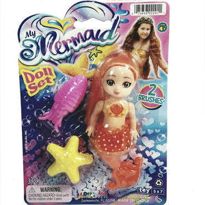 My Mermaid Sunrise Orange Mermaid Unicorn Doll Set with Fish and Flower Brush