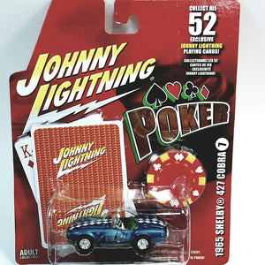 Johnny Lightning # 7 Poker 1965 Shelby 427 Cobra With Card & Poker Chip 1/64 Scale Diecast Car