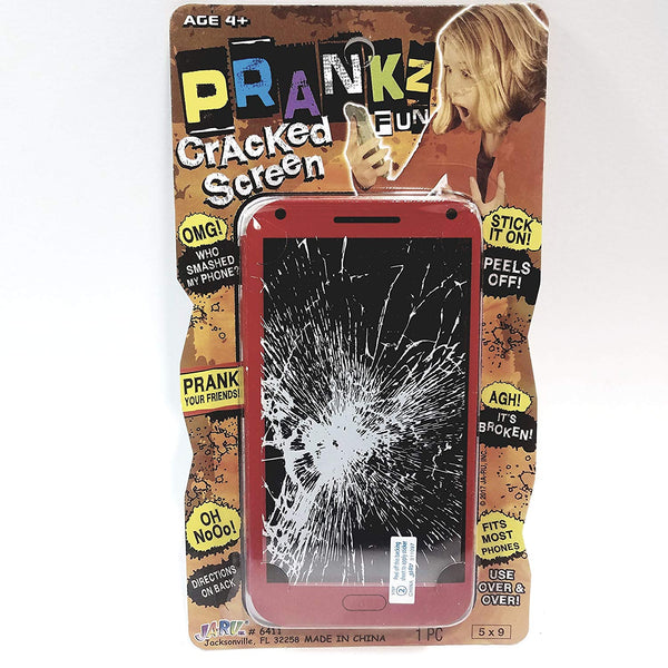 Prankz Fake Cell Phone Cracked Screen Prank Novelty Broken Joke Red