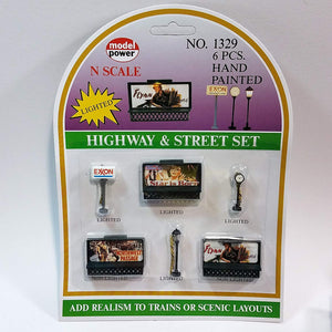 Model Power #1329 N Scale Lited Highway & Street 6 Handpainted Lighted Structures Exxon,Lamp,Clock & Billboards