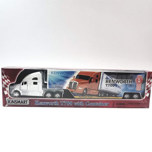 Kinsmart White Kenworth T700 Tractor & Trailer Full Power 1/68 S Scale Commercial Diecast Truck