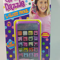 Girlz Dazzle L-Gloss Phone 21 Piece Lip Gloss Set With Mirror In Phone Case