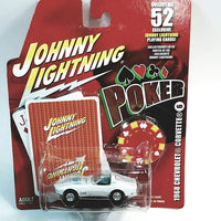 Johnny Lightning #6 Poker 1968 White Chevy Corvette Shelby 427 Cobra With Card & Poker Chip 1/64 Scale Diecast Car