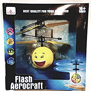 Flash Aerocraft Infra Red Sensor Yellow Laughing Squinty Eyes Emoji Face Helicopter Face Remote Control Helicopter R/C Copter Heli Ball