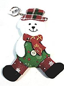 "Festive Felt Teddy Bear Red Green & White 7"" Tall Felt Christmas Keychain/Ornament"