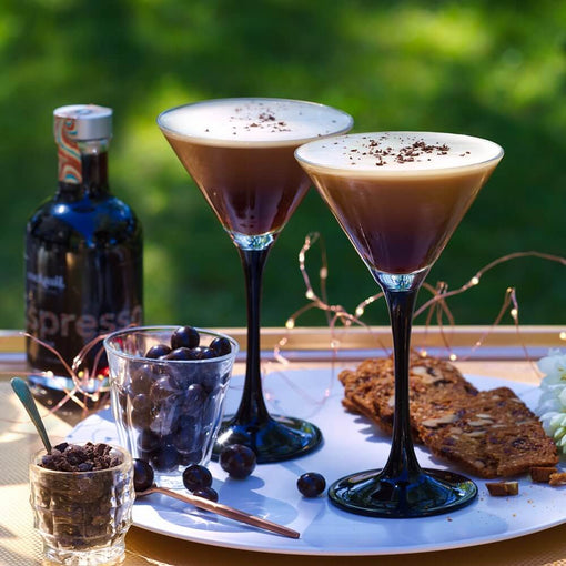 Espresso martini with a side of chocolate coffee | cocktail collective
