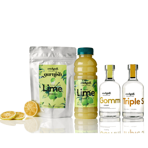 Gomme syrup 200ml | triple sec 200ml | lime juice 350ml | approx 20 lime wheels | cocktail collective