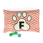 Load image into Gallery viewer, Orange Chervon Paw Print Monogram F Dog Bed - RuffRuffShop.com