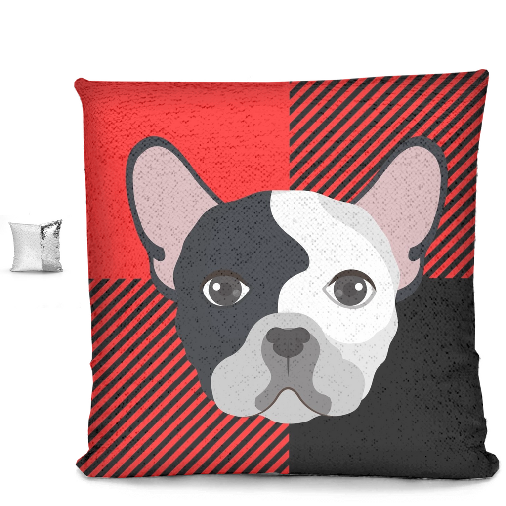 Frenchie on Black and Red Checker Sequin Pillows - RuffRuffShop.com
