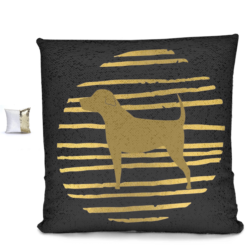 Dog On Golden Circle Sequin Pillows - RuffRuffShop.com