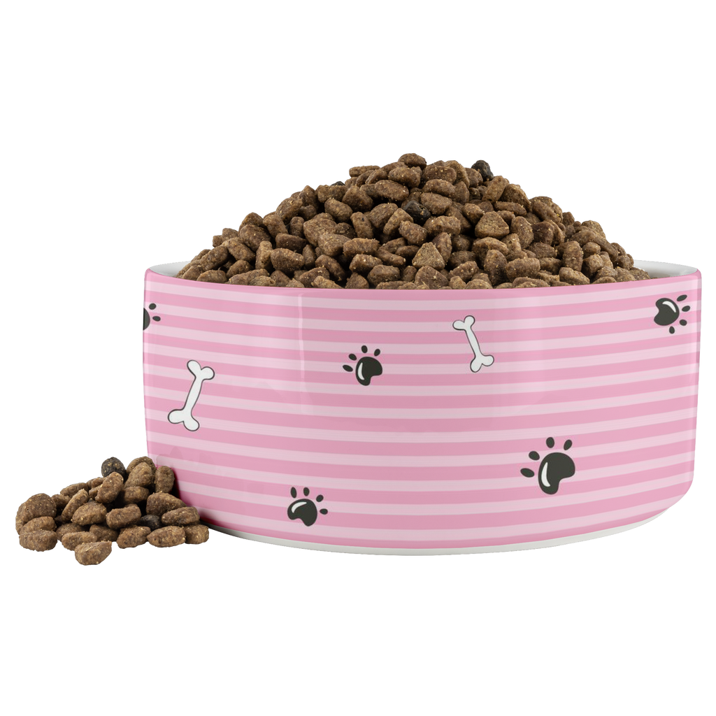 Paws and Bones Dog Bowl -- Pink - RuffRuffShop.com
