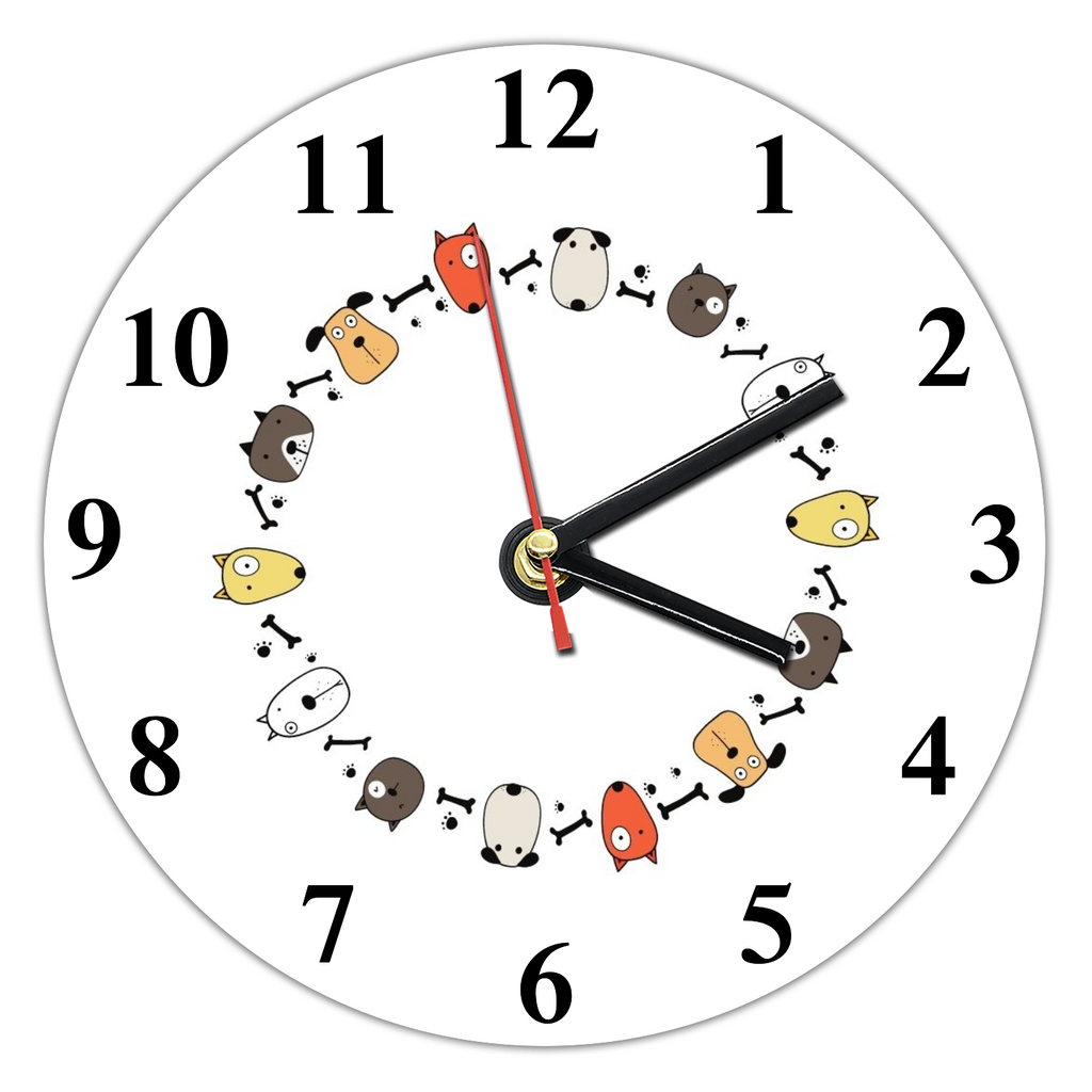Cute Puppies Wall Clock (30cm diameter) - RuffRuffShop.com