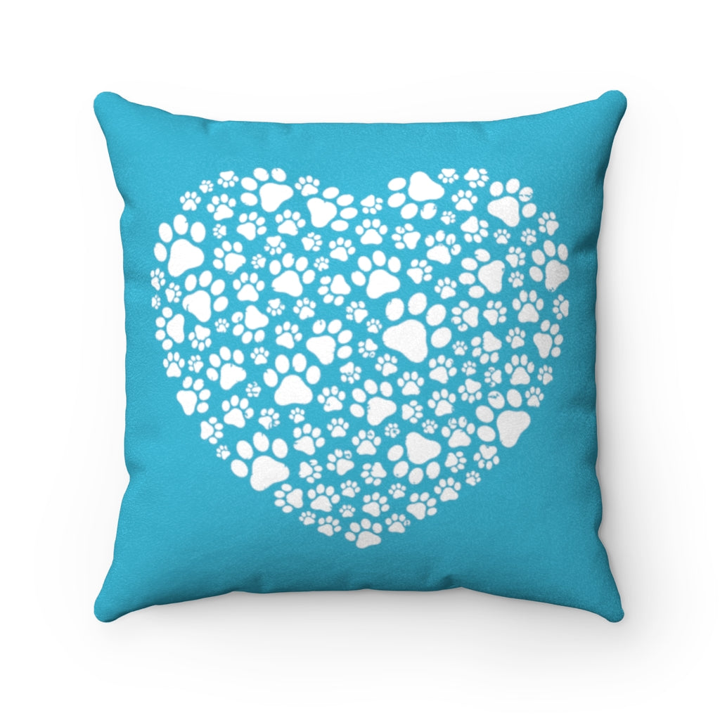 Paw Print Heart Faux Suede Square Pillow - RuffRuffShop.com