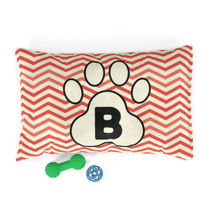 Orange Chervon Paw Print Monogram B Dog Bed - RuffRuffShop.com