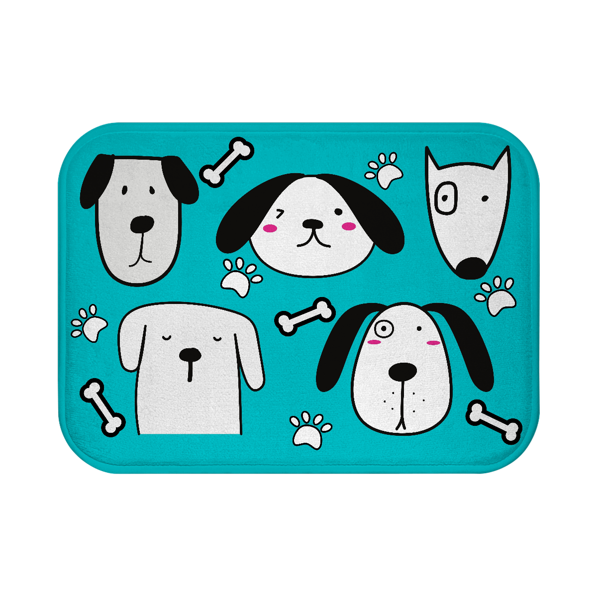 Cute Puppies Bath Mat - Turquoise - RuffRuffShop.com