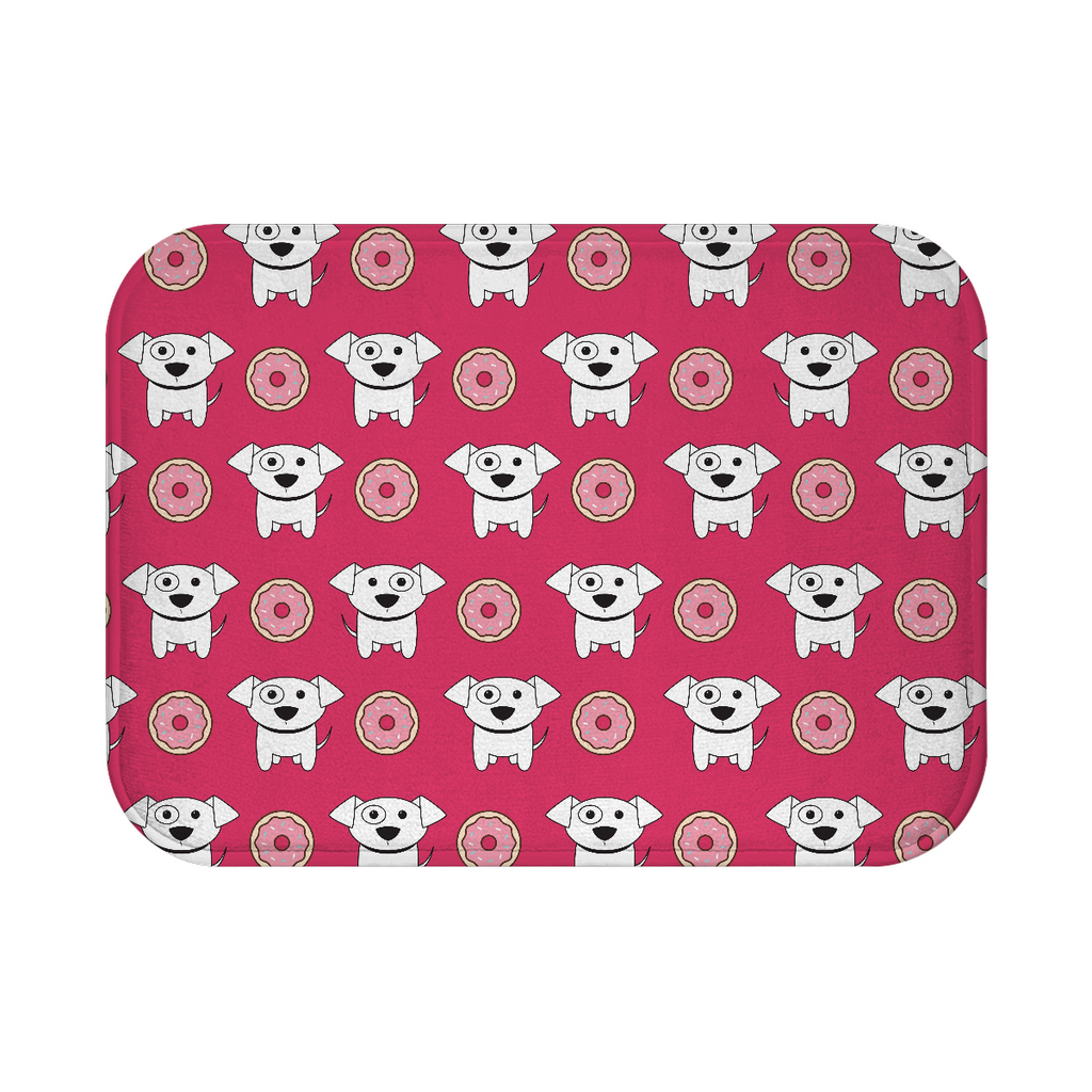 Puppies and Donuts Bath Mat - Pink - RuffRuffShop.com