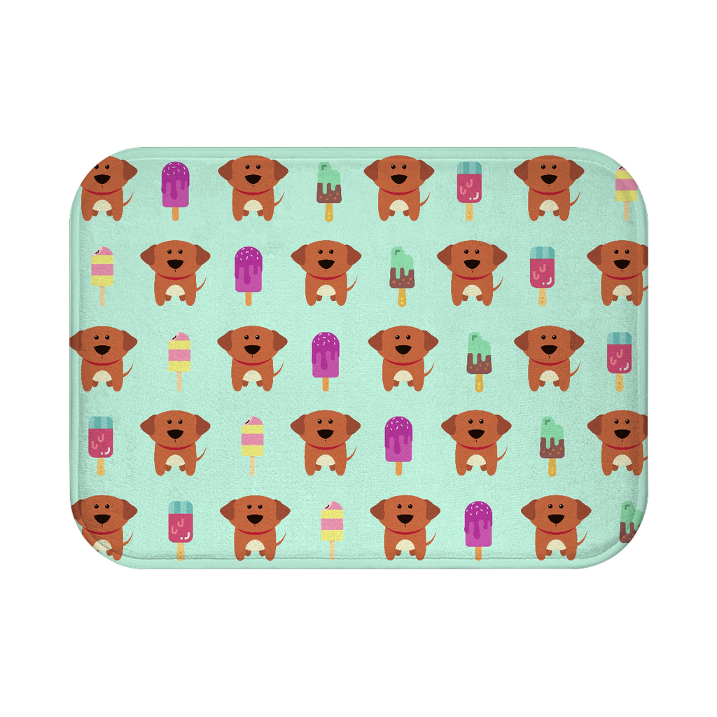 Puppies and Popsicles Bath Mat - Mint Green - RuffRuffShop.com