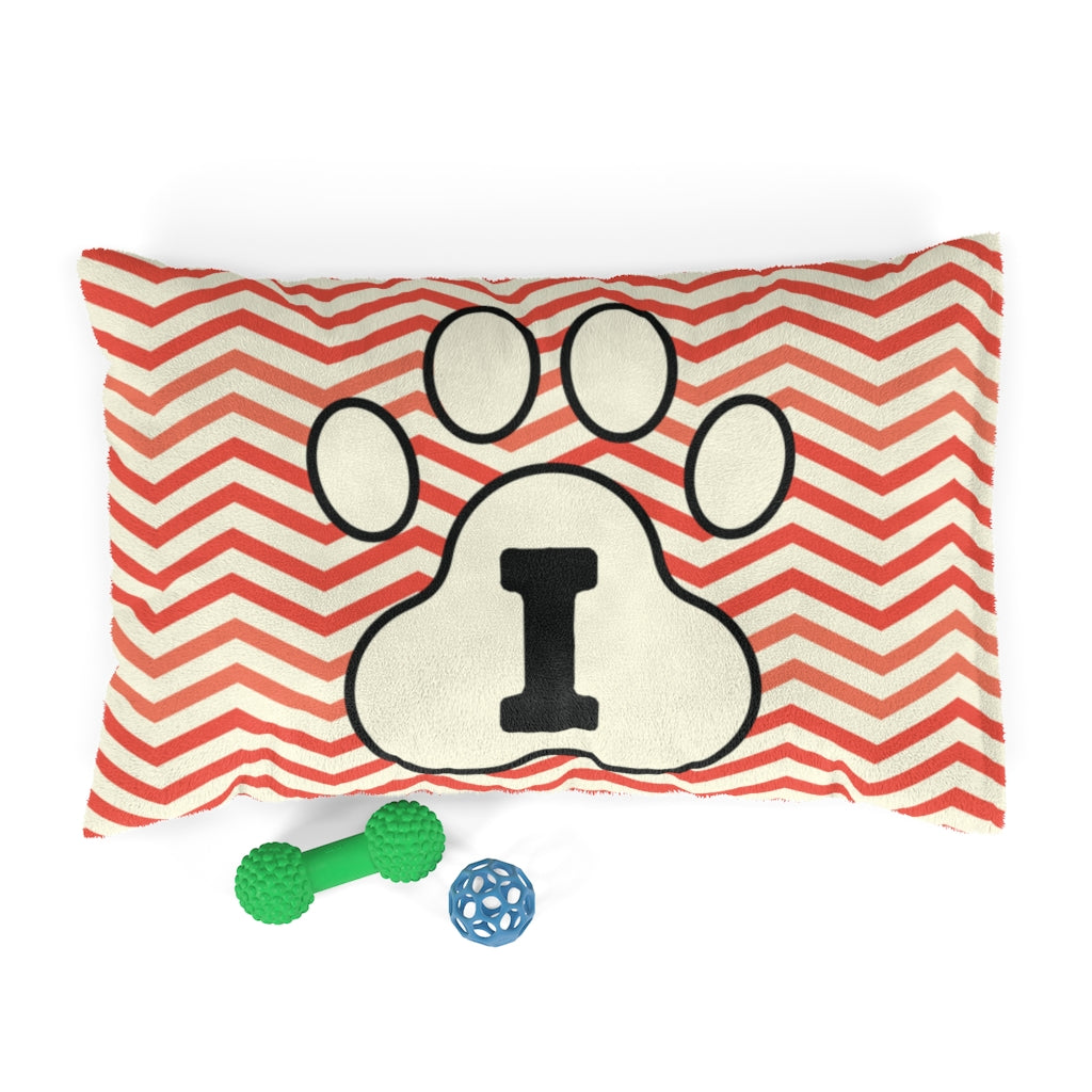 Orange Chervon Paw Print Monogram I Dog Bed - RuffRuffShop.com
