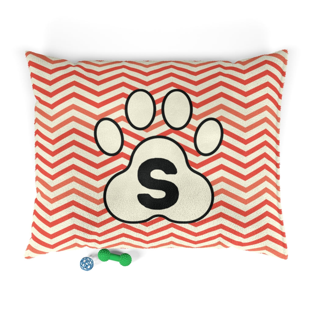 Orange Chervon Paw Print Monogram S Dog Bed - RuffRuffShop.com