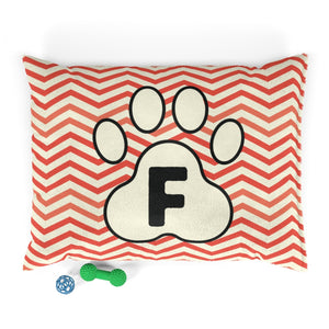 Orange Chervon Paw Print Monogram F Dog Bed - RuffRuffShop.com