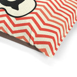 Load image into Gallery viewer, Orange Chervon Paw Print Monogram Q Dog Bed - RuffRuffShop.com