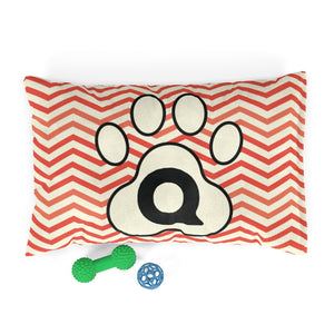 Orange Chervon Paw Print Monogram Q Dog Bed - RuffRuffShop.com
