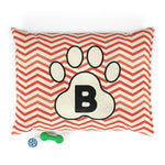 Load image into Gallery viewer, Orange Chervon Paw Print Monogram B Dog Bed - RuffRuffShop.com
