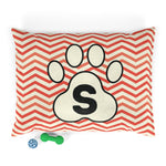 Load image into Gallery viewer, Orange Chervon Paw Print Monogram S Dog Bed - RuffRuffShop.com