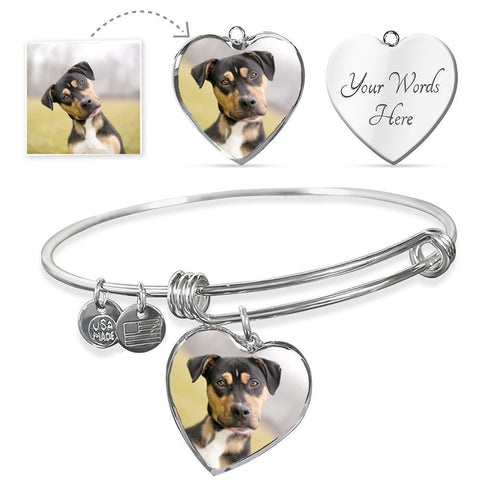 Personalized Adjustable Bangle with Heart Pendant