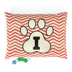Load image into Gallery viewer, Orange Chervon Paw Print Monogram I Dog Bed - RuffRuffShop.com