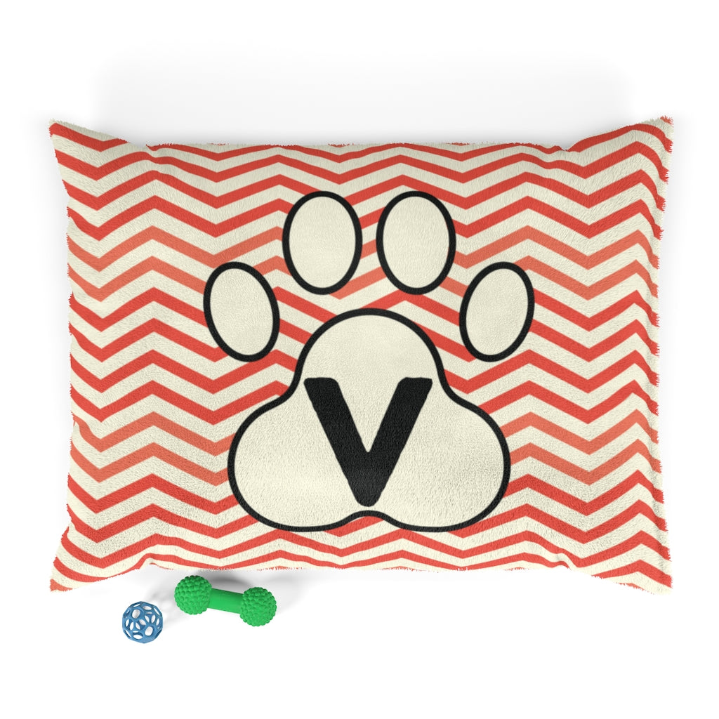 Orange Chervon Paw Print Monogram V Dog Bed - RuffRuffShop.com