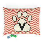 Load image into Gallery viewer, Orange Chervon Paw Print Monogram V Dog Bed - RuffRuffShop.com