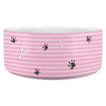 Load image into Gallery viewer, Paws and Bones Dog Bowl -- Pink - RuffRuffShop.com