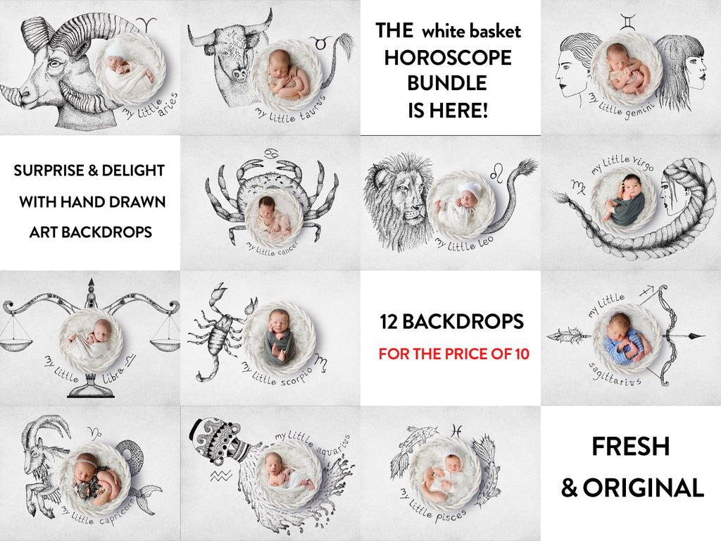 Full set of Horoscope Digital Backdrops with a white basket