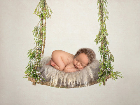 Newborn Photography Digital Backdrop - Natural Swing with Fresh Leaves and White Flowers