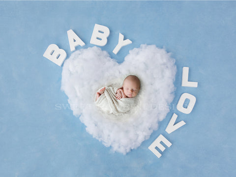Newborn Digital Backdrop- White Fluffy Heart with BABY LOVE shot on a Blue Background