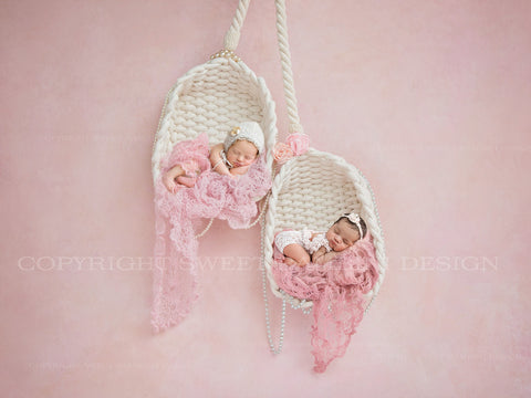 Newborn Twins Digital Backdrop - Twin hanging baskets with pink wraps and pearls
